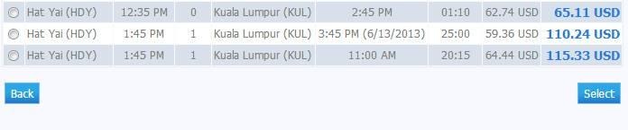 Самолет Хат-Яй - Куала-Лумпур