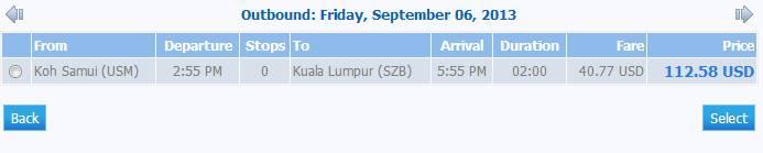 перелет Самуи - Куала-Лумпур