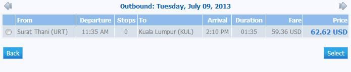 Самолет Сураттани - Куала-Лумпур