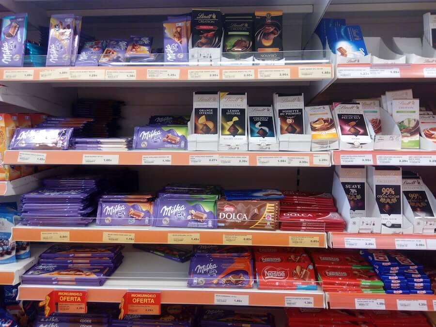 шоколад в магазинах испании